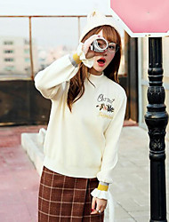 Standard Pullover Da donna-Casual Semplice Con stampe Dolcevita Manica lunga Cotone Primavera/Autunno Medio spessore Media elasticità