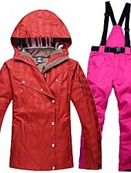 Mujer Chaqueta y pantalones de Esquí Templado Impermeable Resistente al Viento Listo para vestir Transpirabilidad Esquí Algodón Ecológico