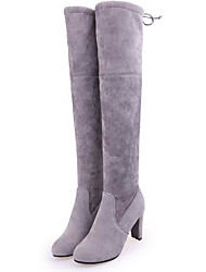 cheap -Women's Shoes Nubuck leather Fall Winter Comfort Boots Over The Knee Boots For Casual Gray Black