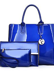 cheap -Women Bags PU Bag Set 3 Pcs Purse Set Zipper for Shopping Casual All Season Blue Black Red Purple