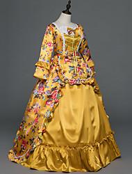 Victorien Rococo Féminin Adulte Costume de Soirée Bal Masqué Orange Cosplay Satin Stretch Sans Manches Longueur Sol