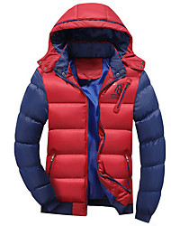 Men's Padded Coat,Casual Chinoiserie Daily To-Go Print Color Block-Cotton Polyester Long Sleeves