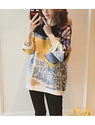 preiswerte -Damen T Shirt Kleid-Andere Lässig/Alltäglich Einfach Patchwork Rundhalsausschnitt Asymmetrisch Langärmelige Polyester Winter Mittlere