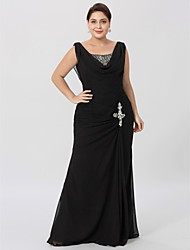 cheap -Sheath / Column Cowl Neck Floor Length Chiffon Mother of the Bride Dress with Beading Criss Cross by LAN TING BRIDE®