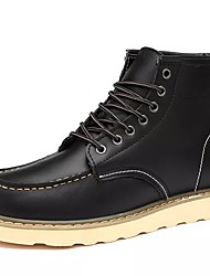cheap -Men's Shoes Cowhide Winter Combat Boots Boots Mid-Calf Boots For Casual Burgundy Khaki Black
