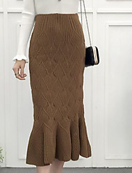 Women's Going out Daily Midi Skirts Bodycon Solid Fall Winter