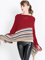 cheap -Women's Knitwear Rectangle Square Triangle Striped Solid Jacquard Winter Fall Navy Blue Beige Red Black