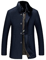 Men's Daily Work Simple Casual Winter Fall Coat,Solid Standing Collar Long Sleeves Long Wool Cotton Acrylic Polyester