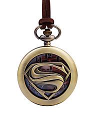 preiswerte -Herrn Kinder Taschenuhr Chinesisch Quartz Armbanduhren für den Alltag Großes Ziffernblatt Leder Band Cool Braun