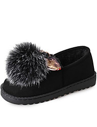 baratos -Mulheres Sapatos Borracha / Courino Outono Conforto / Pom Pom Rasos Preto / Roxo / Verde