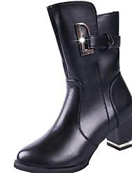 preiswerte -Damen Schuhe PU Winter Springerstiefel Stiefel Blockabsatz Runde Zehe Mittelhohe Stiefel Paillette Für Normal Schwarz