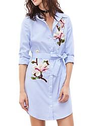 cheap -Women's Going out Work Vintage Casual Sheath Dress,Embroidered Shirt Collar Mini Long Sleeve Polyester High Waist Micro-elastic Medium