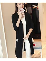 Longue Cardigan Femme Sortie Décontracté / Quotidien Couleur Pleine Col Rond Claudine Manches Longues Coton Moyen Micro-élastique