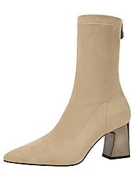 Women's Shoes Leatherette Winter Comfort Boots Pointed Toe Booties/Ankle Boots For Party & Evening Dress Khaki Black