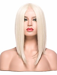 cheap -Synthetic Lace Front Wig Straight Blonde Bob Haircut / With Baby Hair Synthetic Hair Blonde Wig Women's Short Lace Front