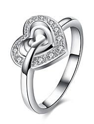 preiswerte -Damen Kristall Zirkon / Aleación Bandring - Kreisform Einfach / Modisch Silber Ring Für Hochzeit / Party / Geburtstag