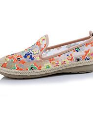 Femme Chaussures Soie Printemps Eté Confort Nouveauté Mocassins et Chaussons+D6148 Bout rond Pour Décontracté Noir Orange Rose