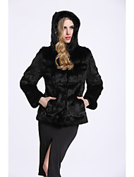 BF-Fur Style Women's Daily Sophisticated Winter Fall Fur Coat,Solid Long Sleeves Regular Rabbit Fur Polyester