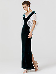 cheap -Sheath / Column V Neck Floor Length Velvet Formal Evening Dress with Lace Ruffles by TS Couture®