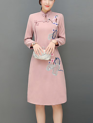 Trapèze Robe Femme Soirée Travail Rétro Chinoiserie,Broderie Col Mandarin Mi-long Manches longues Autres Automne Hiver Taille Normale Non