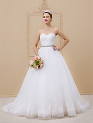 cheap -Ball Gown Strapless Chapel Train Tulle Lace Over Tulle Custom Wedding Dresses with Beading Lace Sashes / Ribbons by LAN TING BRIDE®