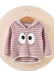 cheap -Girls' Striped Blouse, Cotton Winter Fall Long Sleeves Cute Cartoon Blushing Pink Light Green