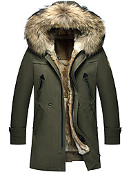Men's Daily Simple Casual Winter Fall Parka,Solid Hooded Long Sleeves Long Rabbit Fur Cotton