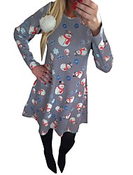 Snowman One Piece Dress Female Christmas Festival / Holiday Halloween Costumes Gray Blue Red printing