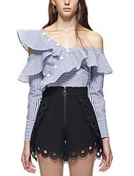 cheap -Women's T-shirt - Striped, Ruffle Pant Off Shoulder