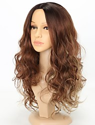 cheap -Women Synthetic Wig Capless Long Water Wave Curly Brown Ombre Hair Natural Hairline Party Wig Natural Wigs Costume Wig