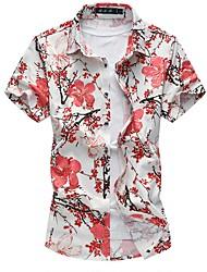 Недорогие -Муж. Большие размеры - Рубашка Шинуазери (китайский стиль) Цветочный принт Хлопок