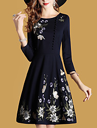 cheap -Women's Daily Plus Size Street chic Sheath Dress,Solid Embroidered Round Neck Knee-length Short Sleeve Polyester Spring Fall Mid Rise
