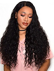 cheap -Glue-less Lace Front Human Virgin Hair Natural ColorDeep Wave Lace Wig with Baby Hair