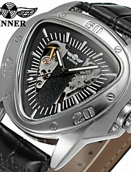 economico -WINNER Per uomo orologio meccanico Creativo unico orologio Carica automatica Orologi con incisioni Pelle Banda Casual Fantastico Nero