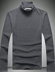 Masculino Camiseta Para Noite Casual Moda de Rua Sólido Poliéster Gola Alta Manga Longa
