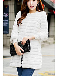 Women's Going out Street chic Sophisticated Winter Fur Coat,Solid Round Neck 3/4 Length Sleeves Long Rabbit Fur PU