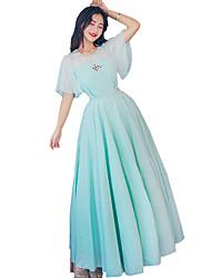 Un Pezzo/Vestiti Dolce Ispirazione Vintage Elegant Da principessa Cosplay Vestiti Lolita Azzurro ciano Di pizzo Vintage Svasata Manica