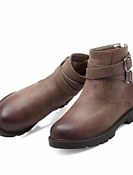 cheap -Women's Shoes PU Fall Winter Comfort Boots Round Toe For Casual Light Brown Red Yellow