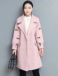 cheap -Women's Daily Going out Street chic Winter Fall Coat,Solid Peak Long Sleeves Long Cashmere Polyester Modern Style