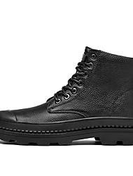 baratos -Homens sapatos Courino Couro Inverno Outono Conforto Botas para Casual Preto