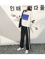 Feminino Vintage Cintura Alta Micro-Elástica Perna larga Chinos Calças,Perna larga Chinos Sólido Listrado