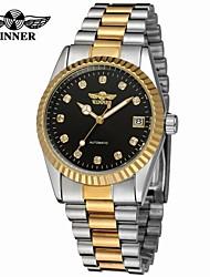 baratos -WINNER Homens Relógio Elegante / Relógio de Pulso / relógio mecânico Calendário / Legal Aço Inoxidável Banda Luxo / Vintage / Casual Prata / Dourada / Automático - da corda automáticamente