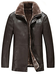 cheap -Men's Daily Simple Casual Winter Fall Leather Jackets,Solid Shirt Collar Long Sleeves Regular Lambskin