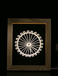 cheap -1 Set Of 3D Mood Night Light LED Lights USB Bedroom Photo Frame Lamp Gifts Ferris Wheel