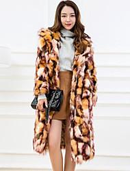 Недорогие -Жен. На выход Зима Длинная Пальто с мехом Простой На каждый день Другое С принтом