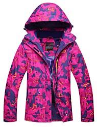 Недорогие -Жен. Лыжная куртка Теплый Водонепроницаемость Сохраняет тепло С защитой от ветра Лыжи Съемный капюшон Катание на лыжах Полиэстер