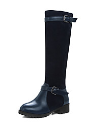 cheap -Women's Shoes Leatherette Winter Fashion Boots Riding Boots Boots Round Toe Knee High Boots Buckle for Casual Black Dark Blue Brown