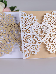 cheap -Double Gate-Fold Wedding Invitations Invitation Cards Classic Style Heart Style Pearl Paper
