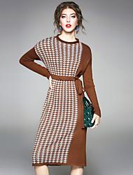 baratos -Mulheres Tricô Vestido Houndstooth Colarinho Chinês