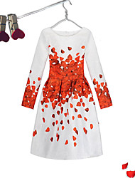 cheap -Girl's Event/Party Dailywear Dress, Cotton Polyester Long Sleeves Cute Casual Princess Red